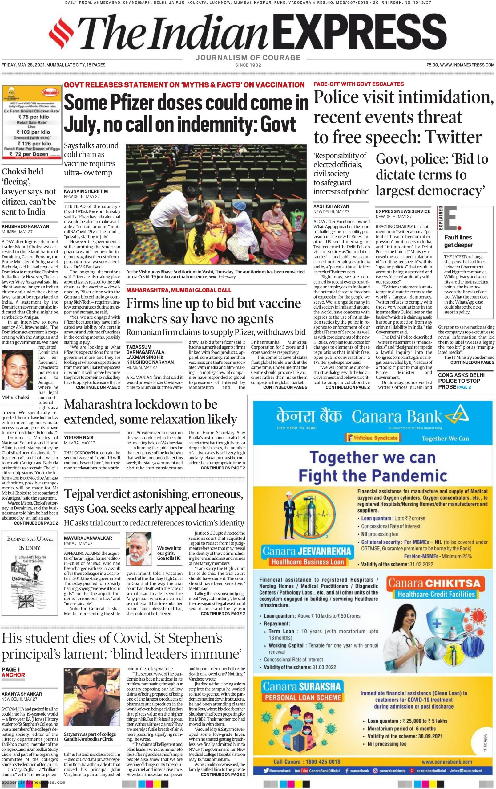 The Indian Express 29th may 2021
