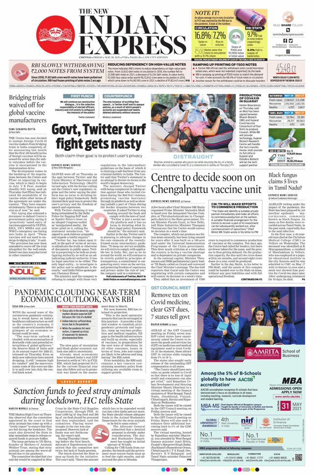 The New Indian Express 28th May 2021