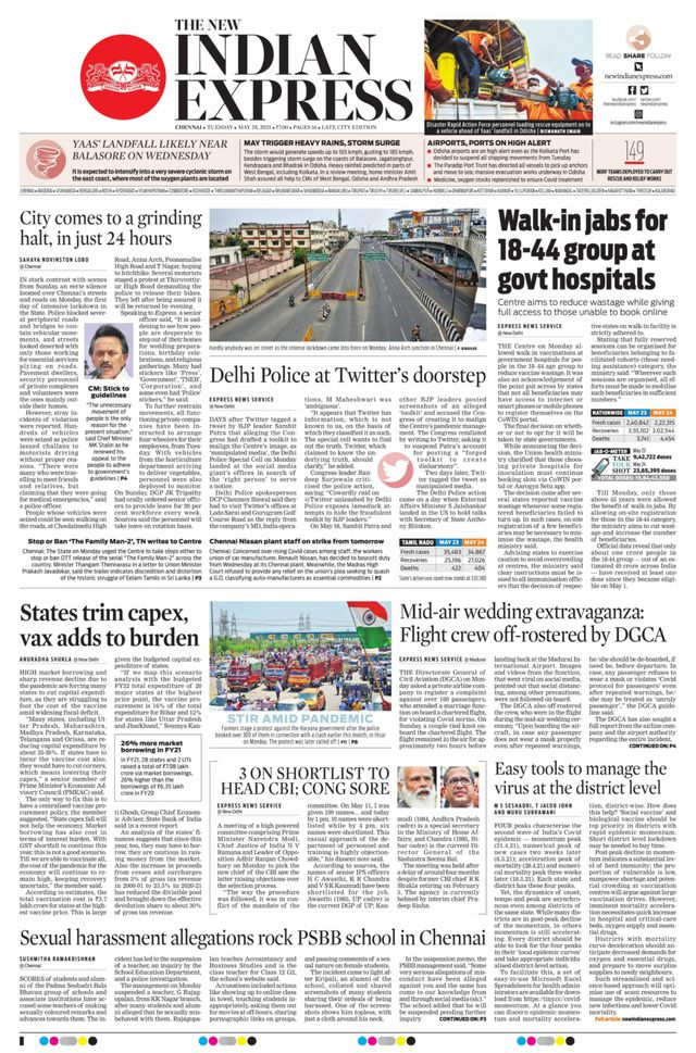 The new indian express 25th may 2021