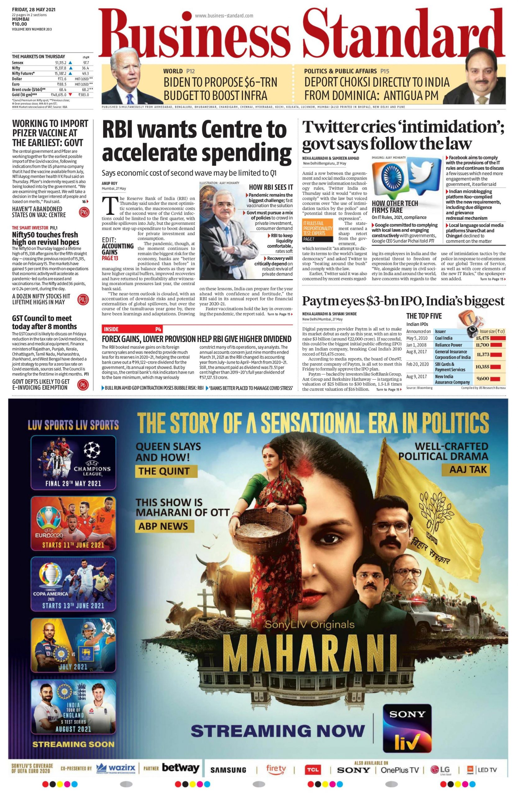 business standard 28th may 2021
