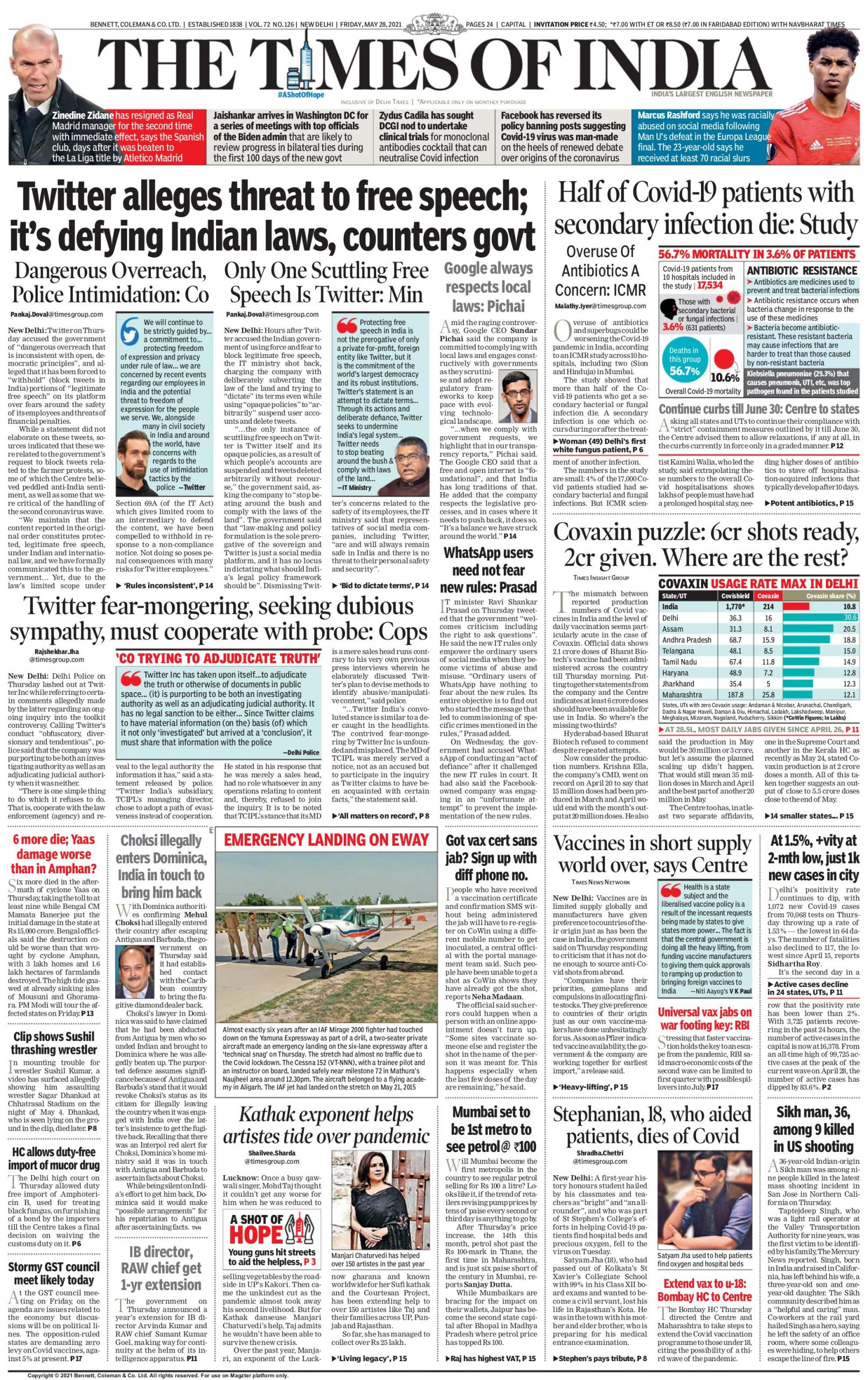times of india 28th may 2021