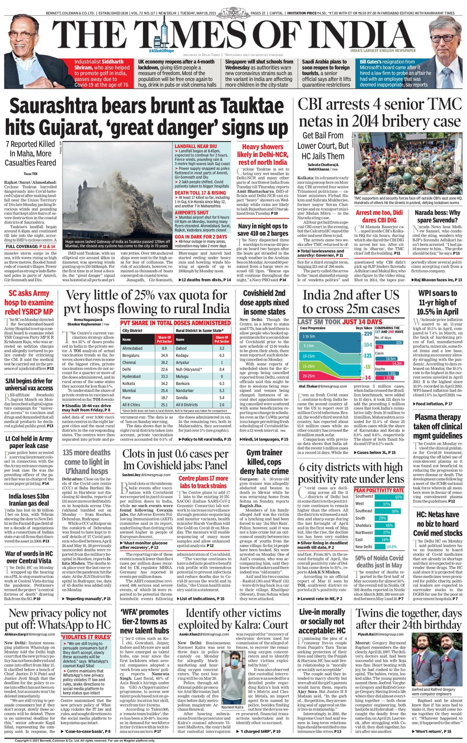 times of india 18th May 2021