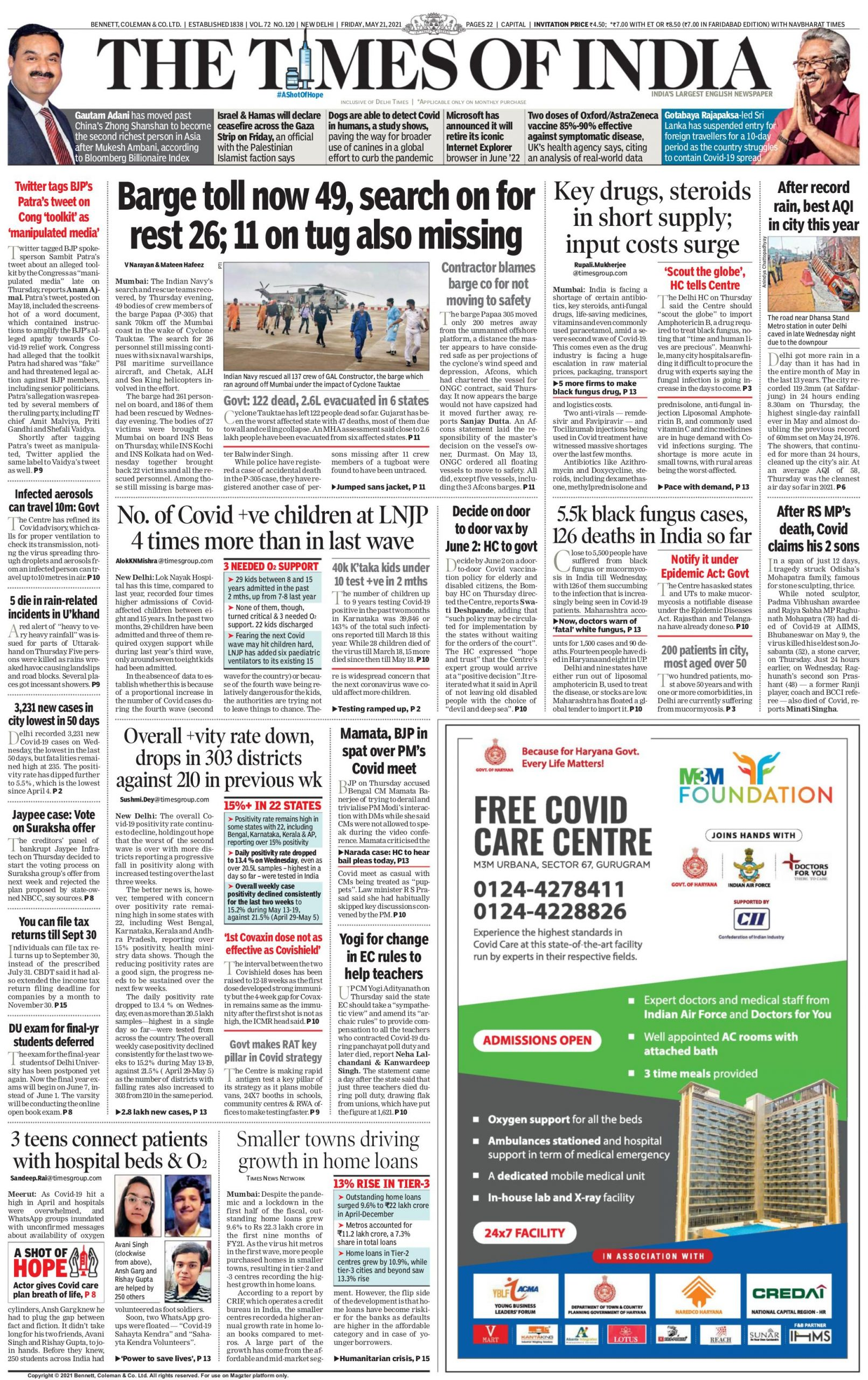 times of india 21st May 2021