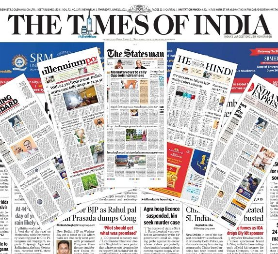 Newspaper front pages 10th June 2021