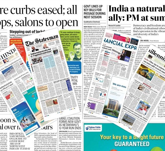 Newspaper front pages 14th June 2021