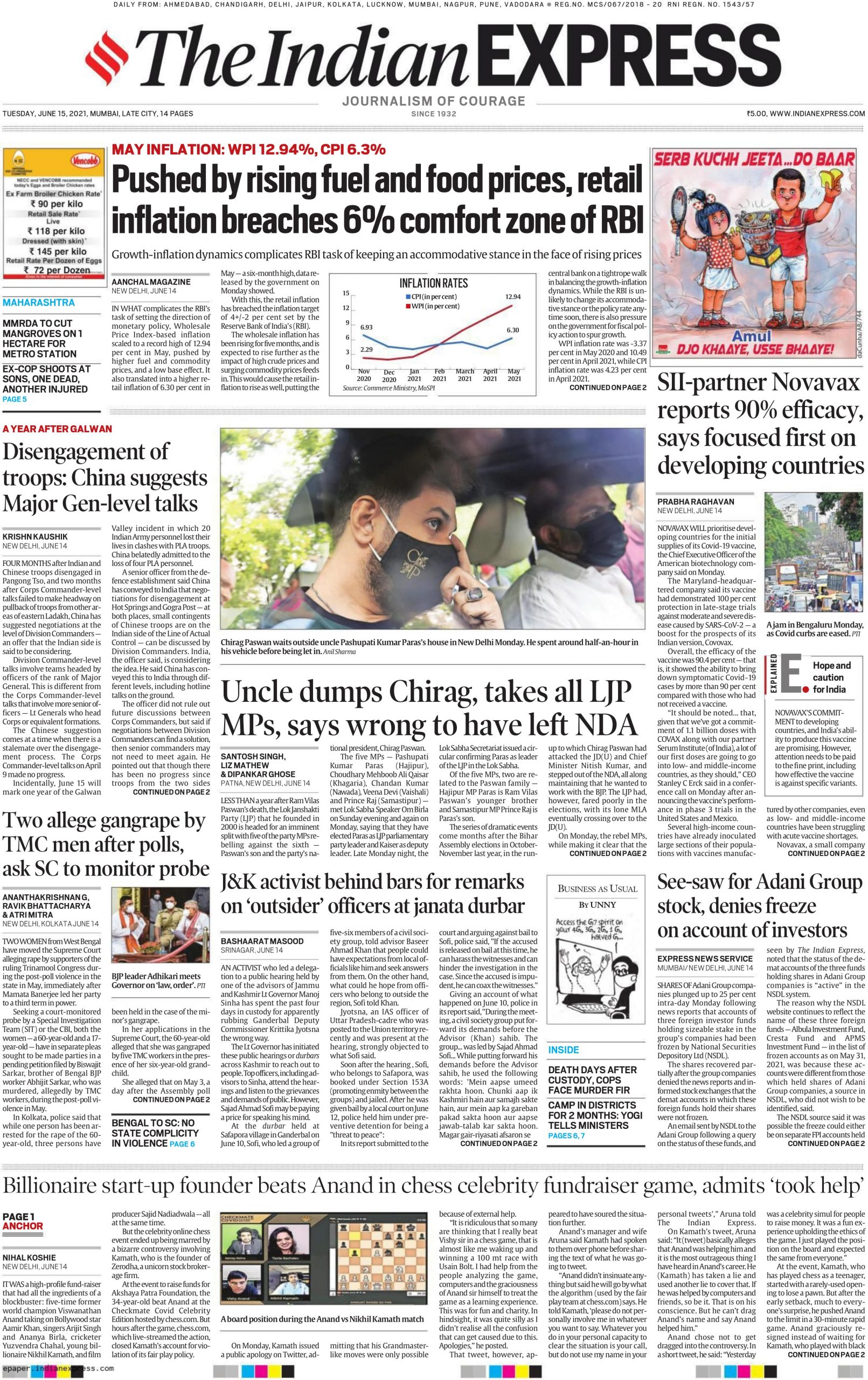 The Indian Express 15th June 2021