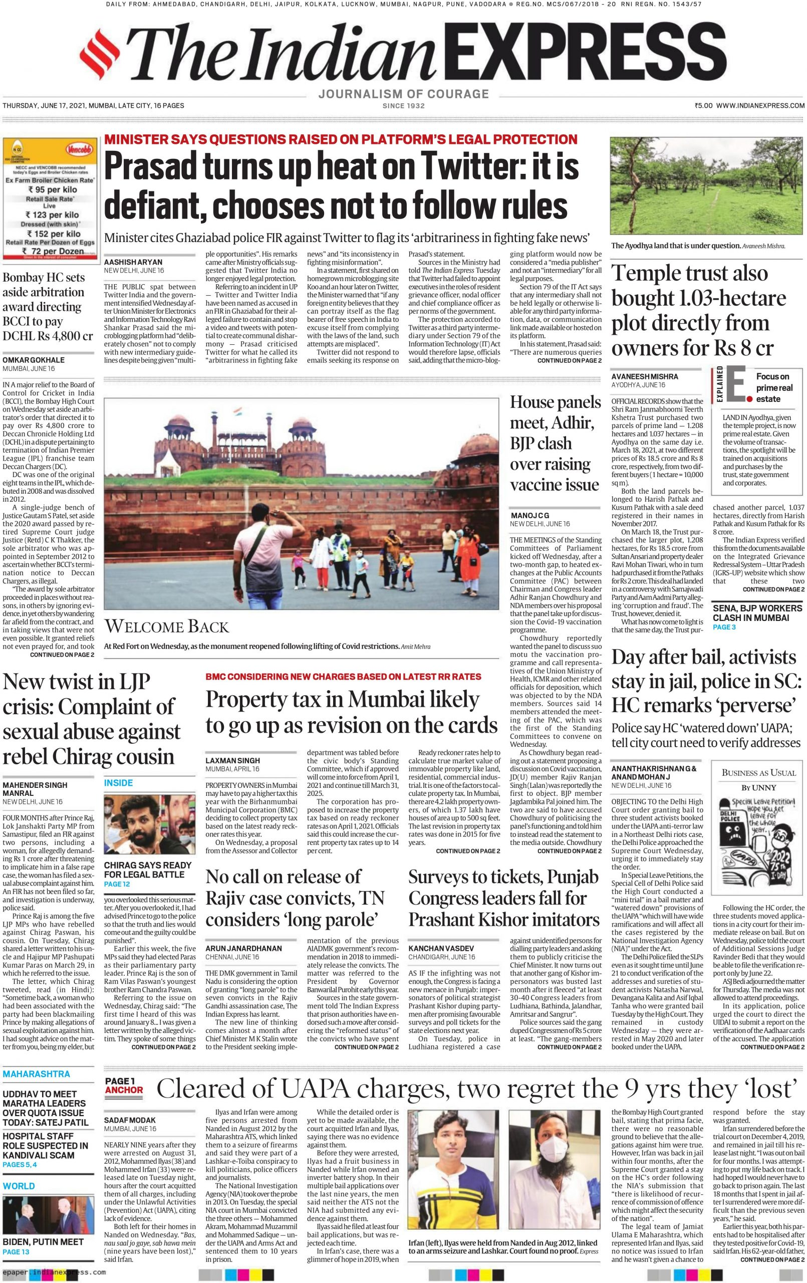 The Indian Express 17th June 2021