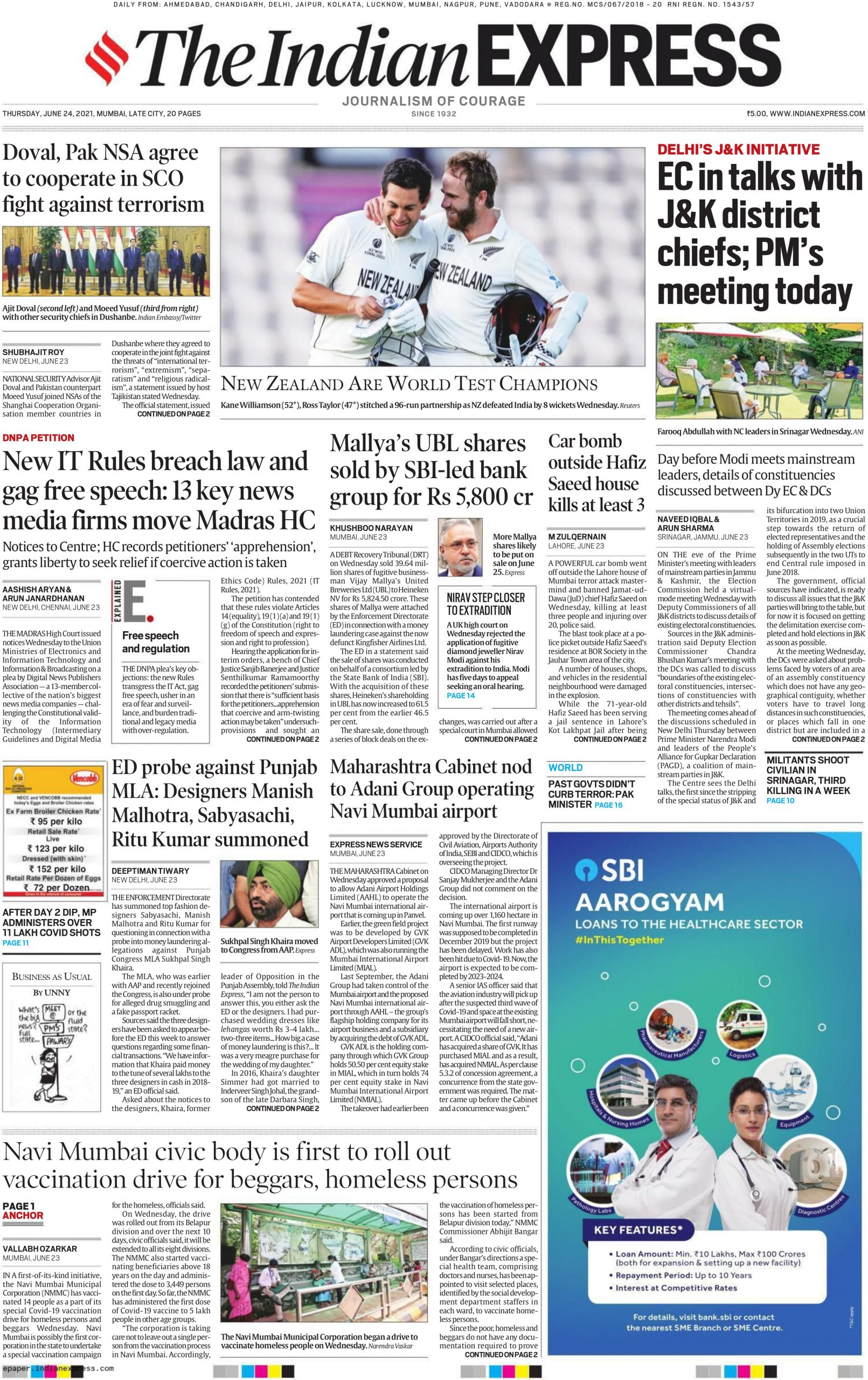 The Indian Express 24th June 2021