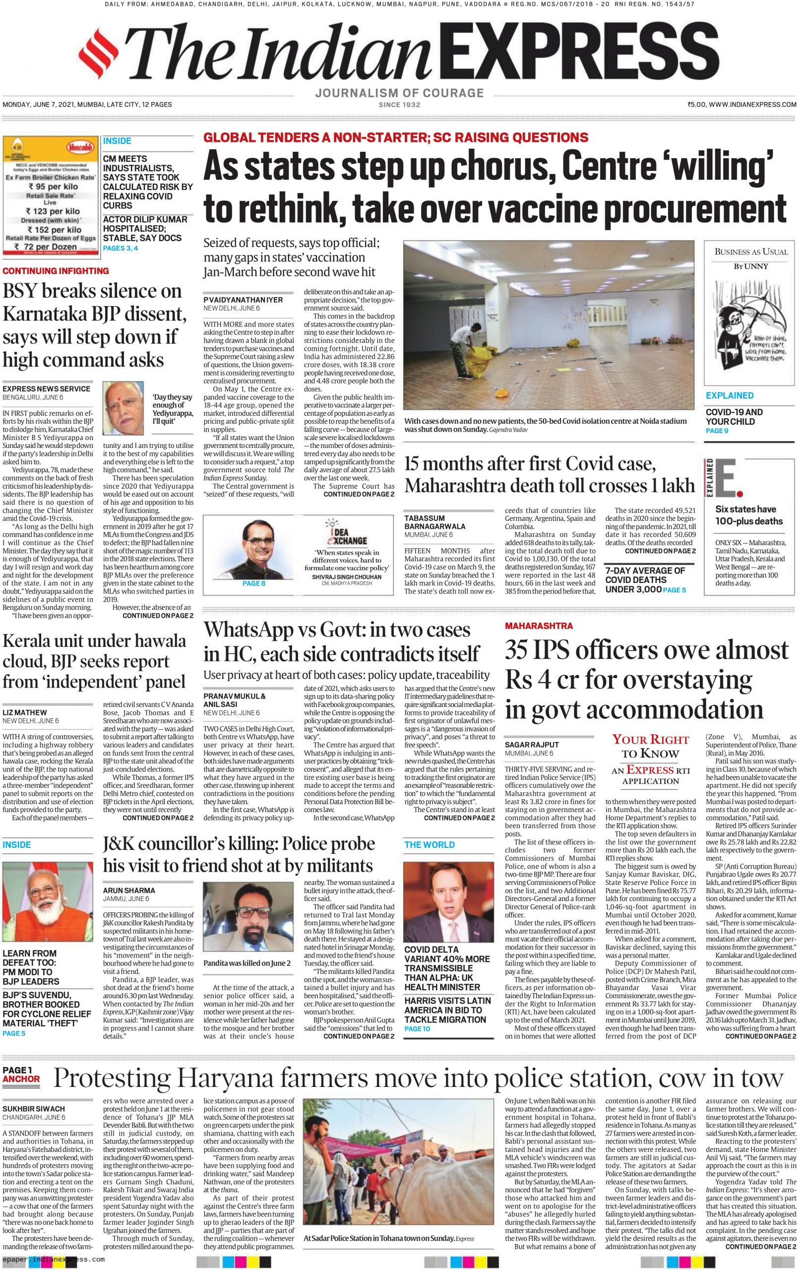 The Indian Express 7th June 2021