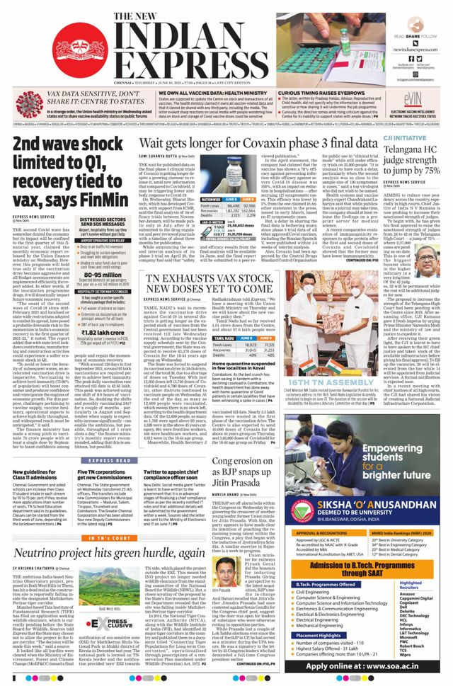 The New Indian Express 10th June 2021
