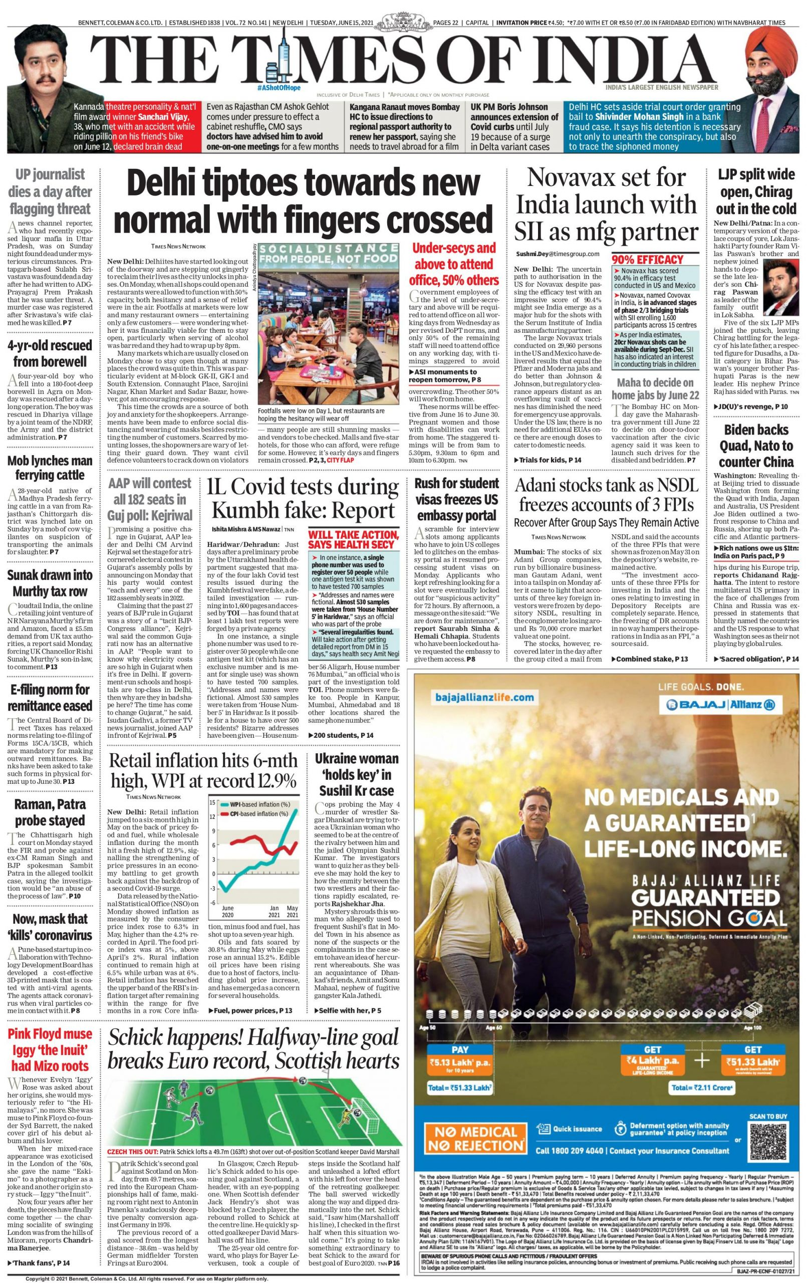 The Times of India 15th June 2021