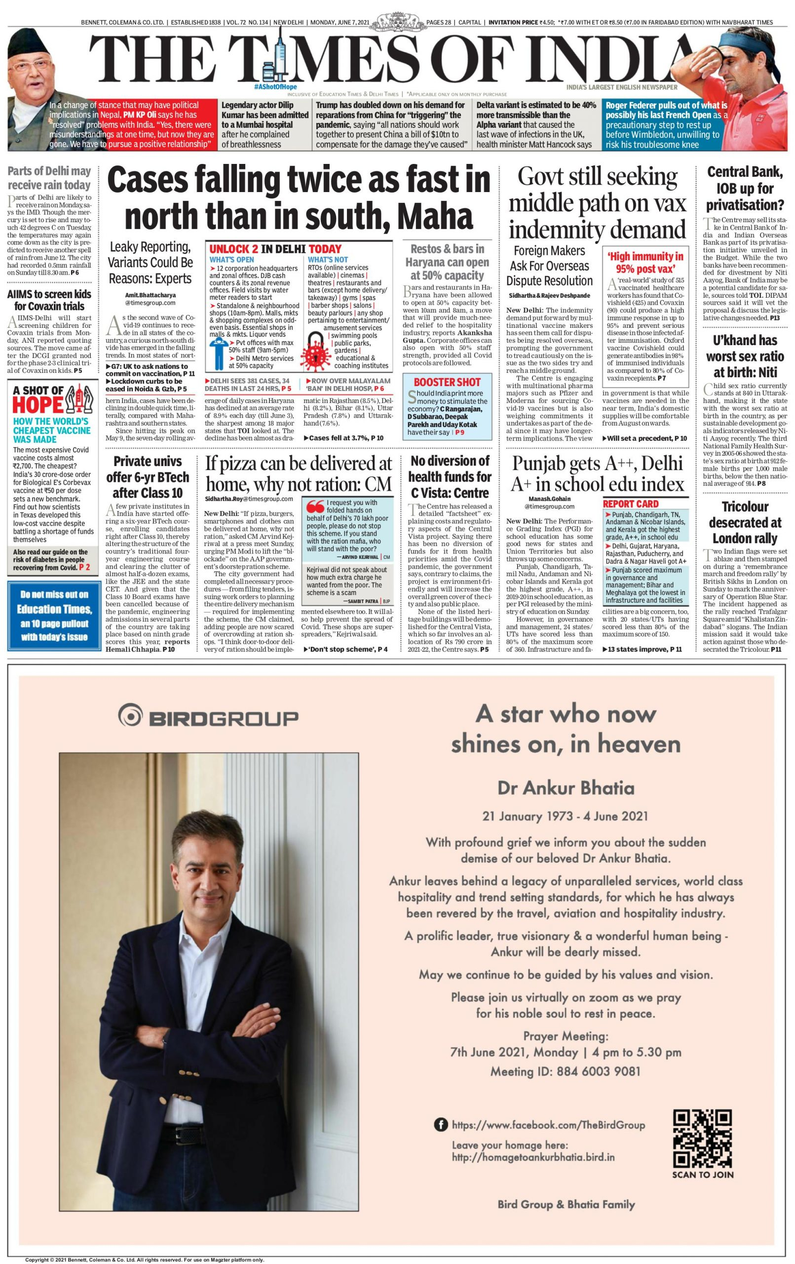 Times of India 7th June 2021