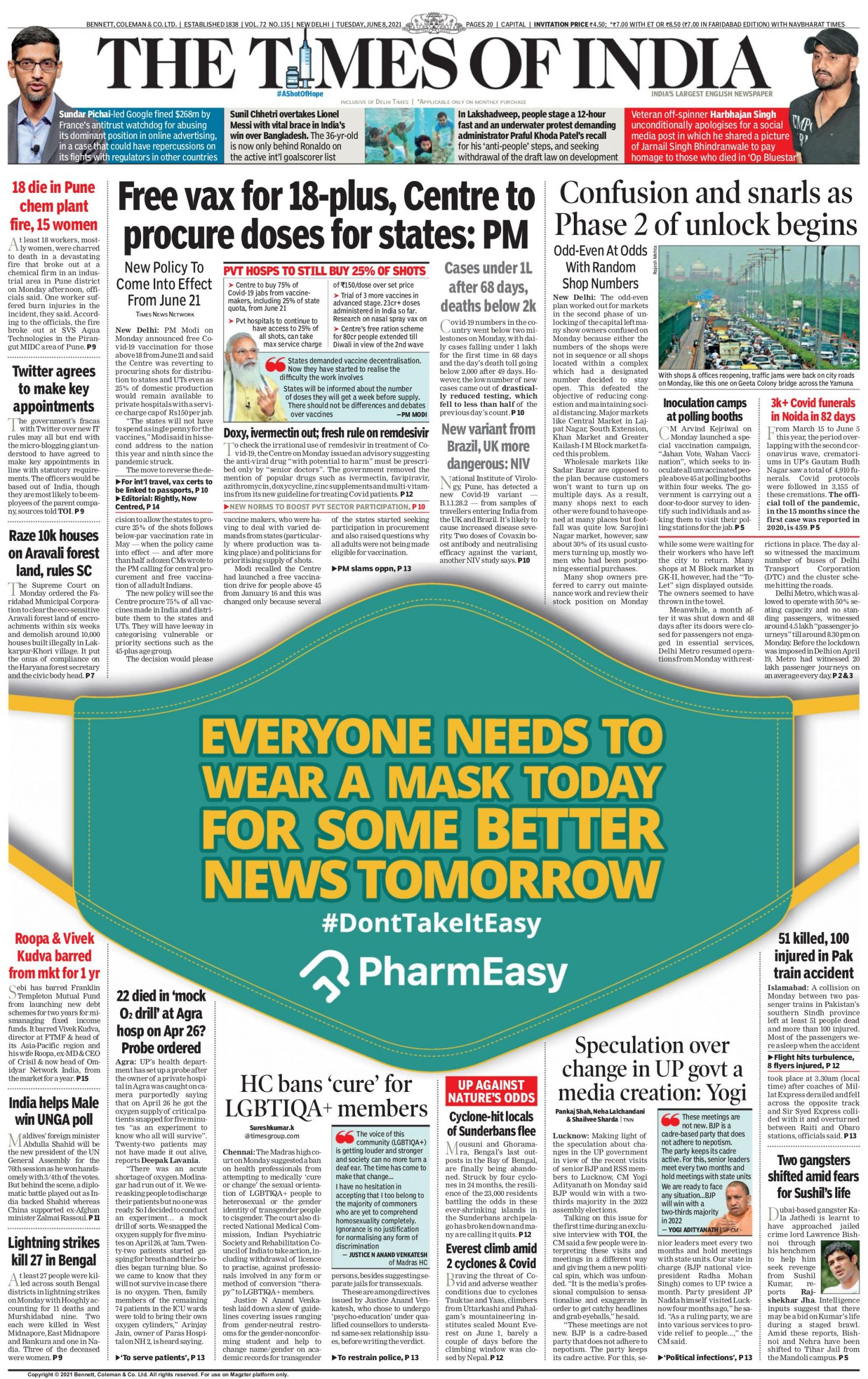 Times of India 8th June 2021