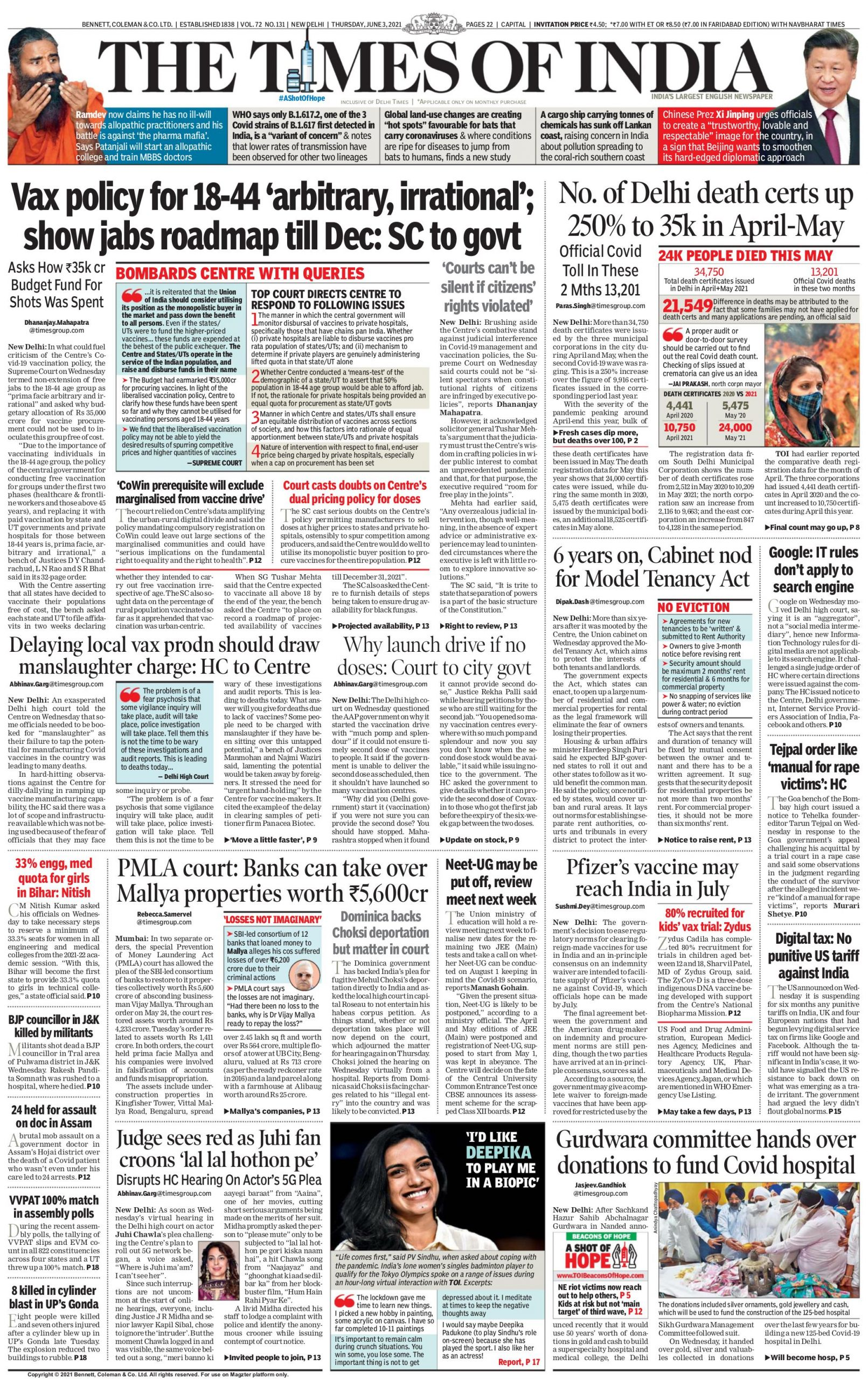 Times of india 3rd June 2021