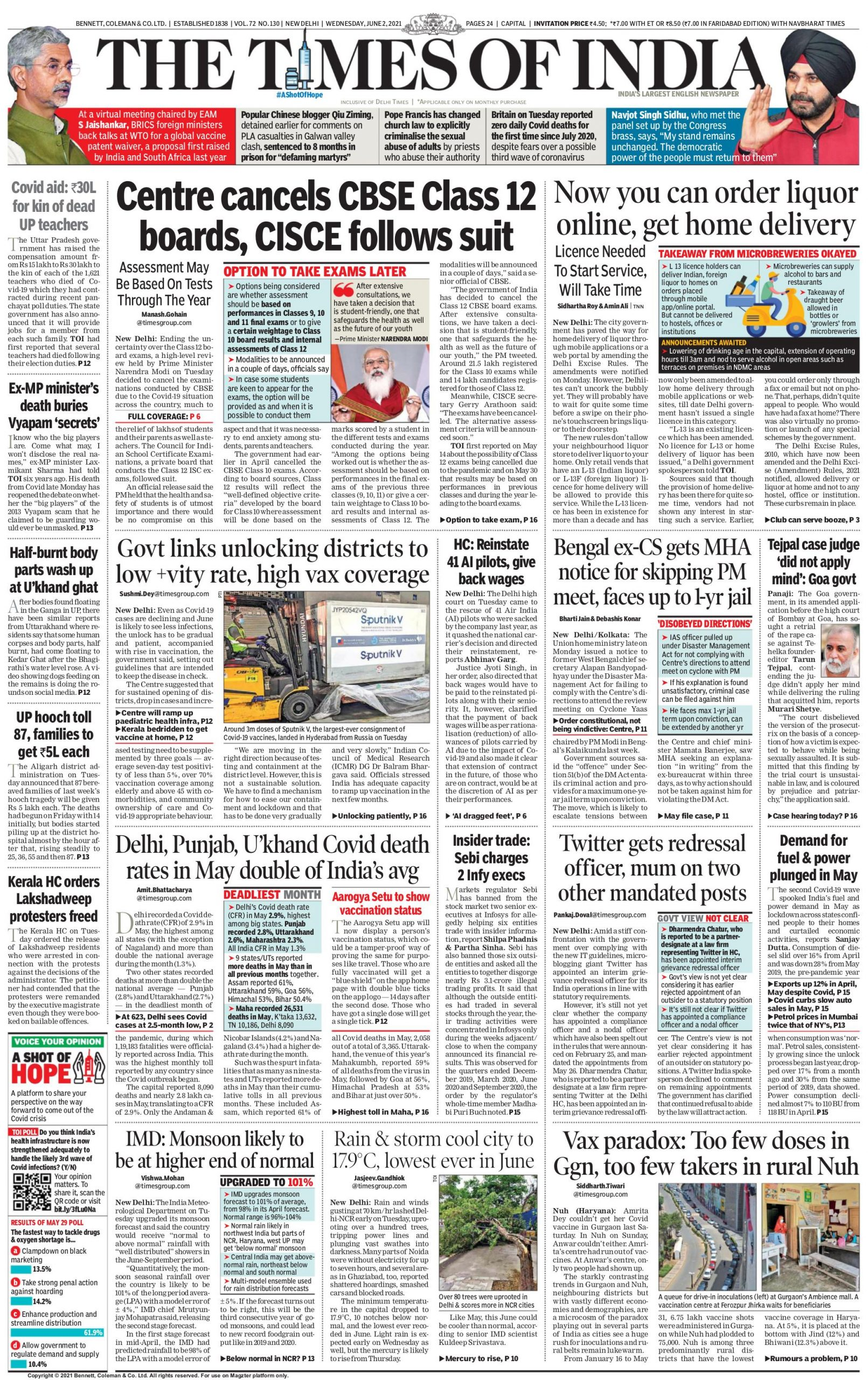 times of india 2nd june 2021