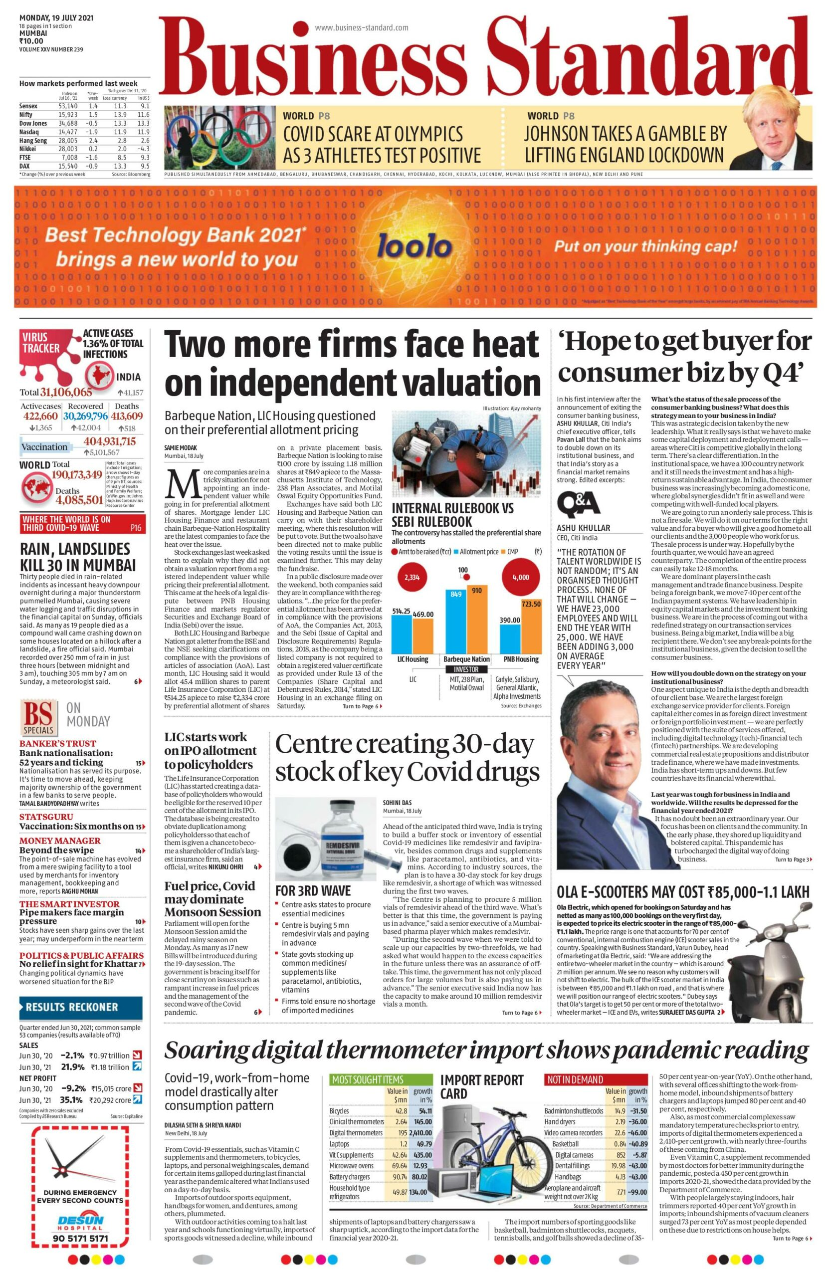Business Standard 19th July 2021