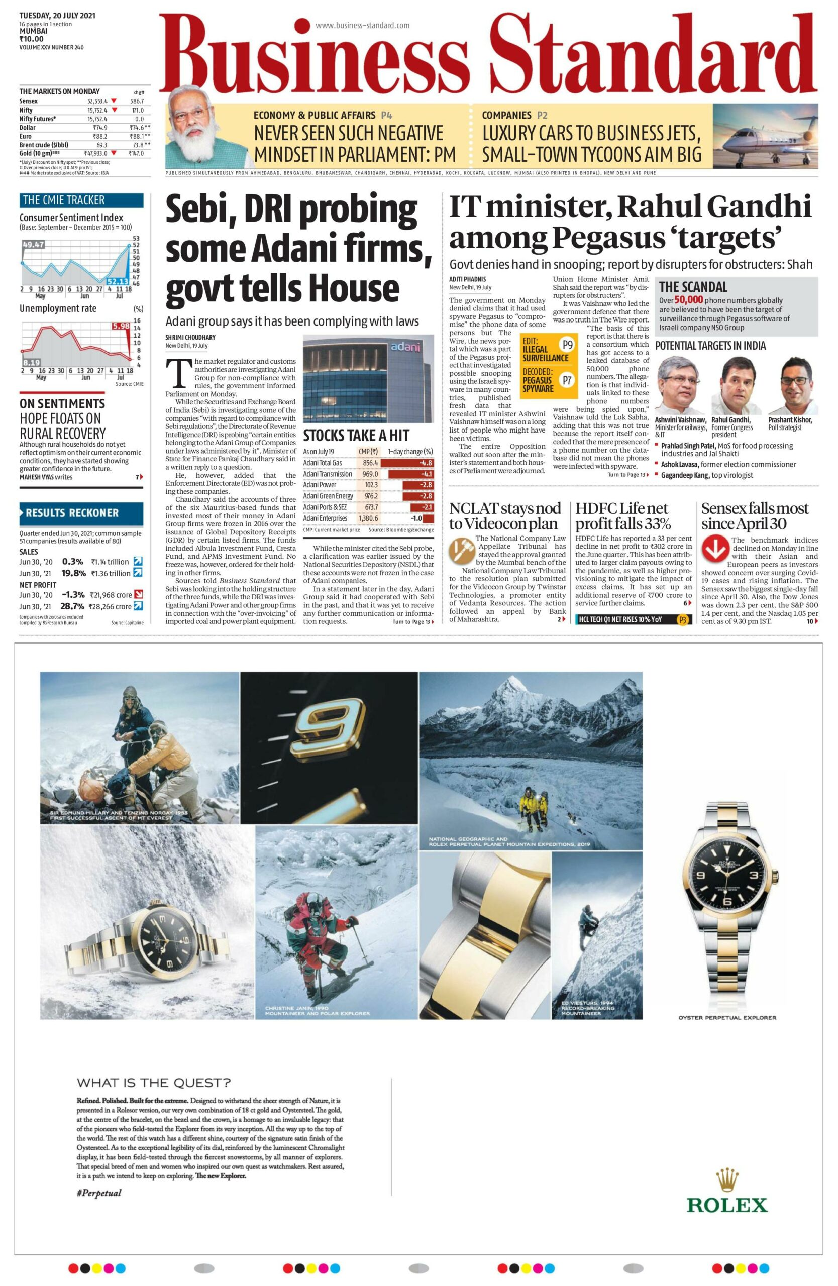 Business Standard 20th July 2021