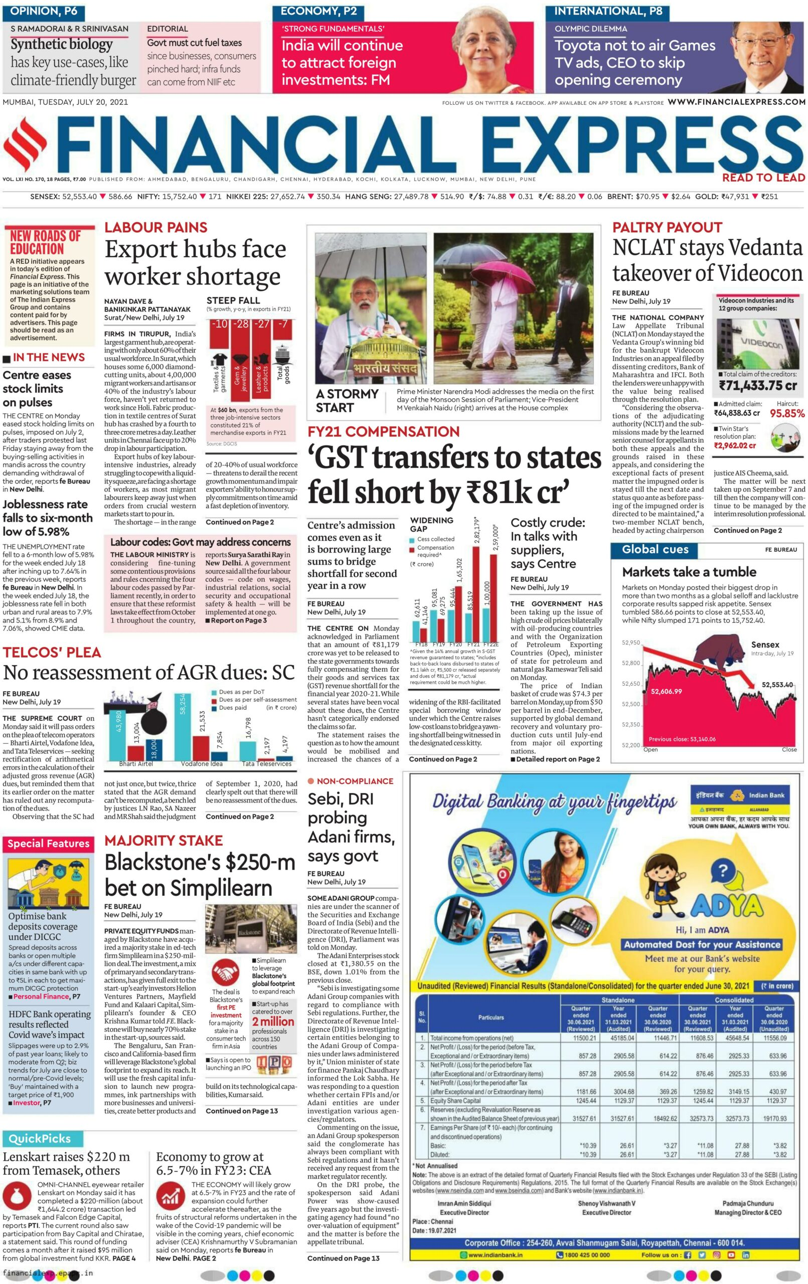 Financial Express 20th July 2021
