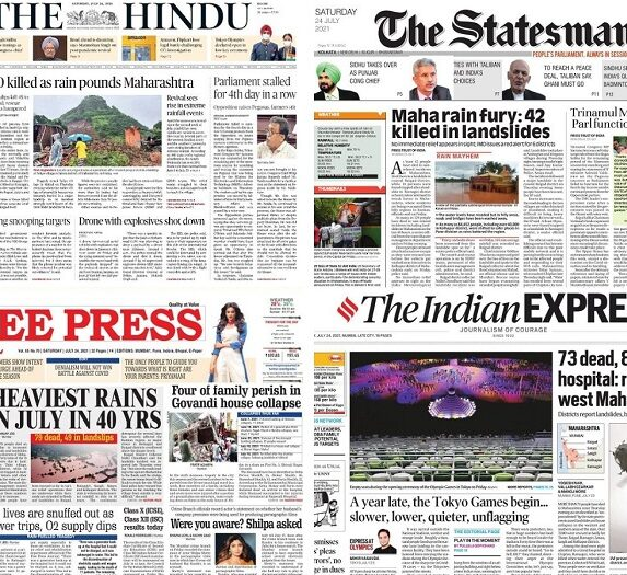 Newspaper front pages 24 July 2021