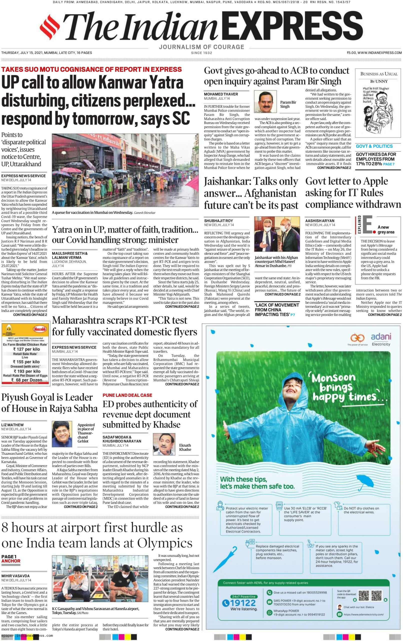 The Indian Express 15th July 2021