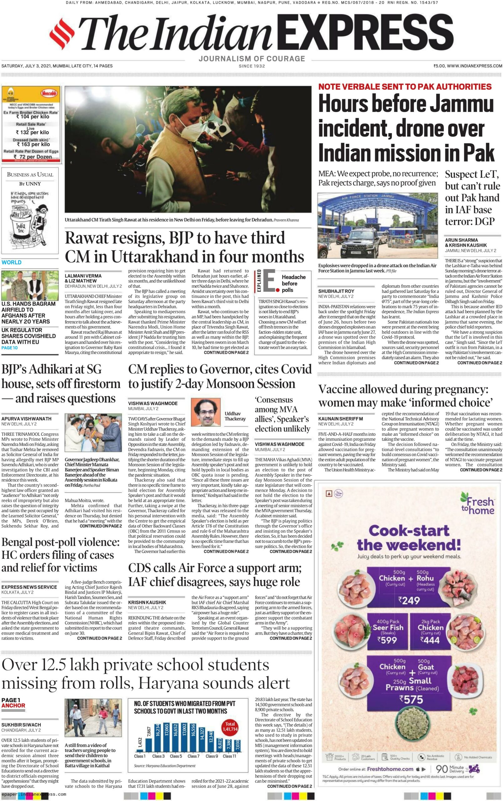 The Indian Express July 3, 2021