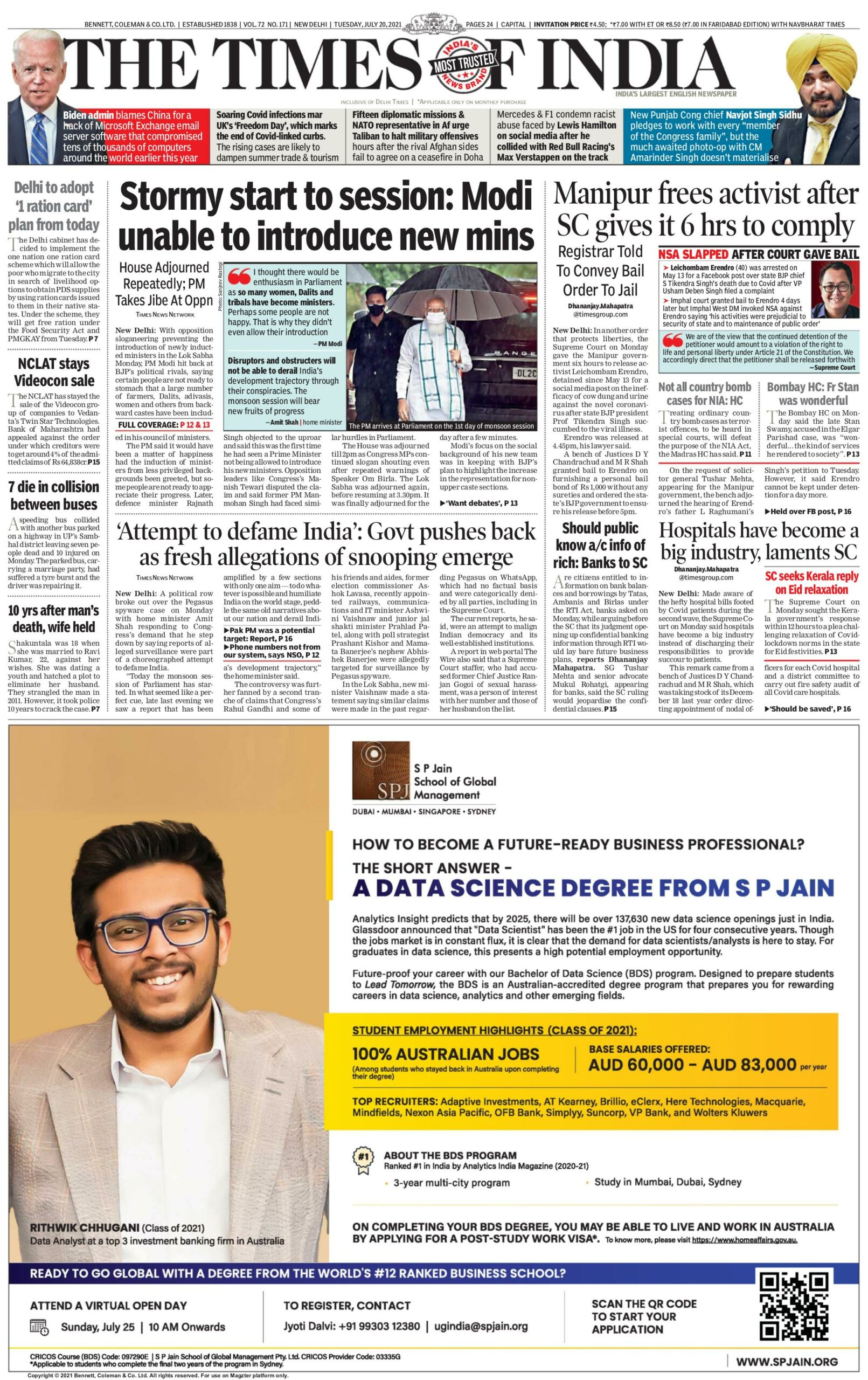 Times of India 20th July 2021