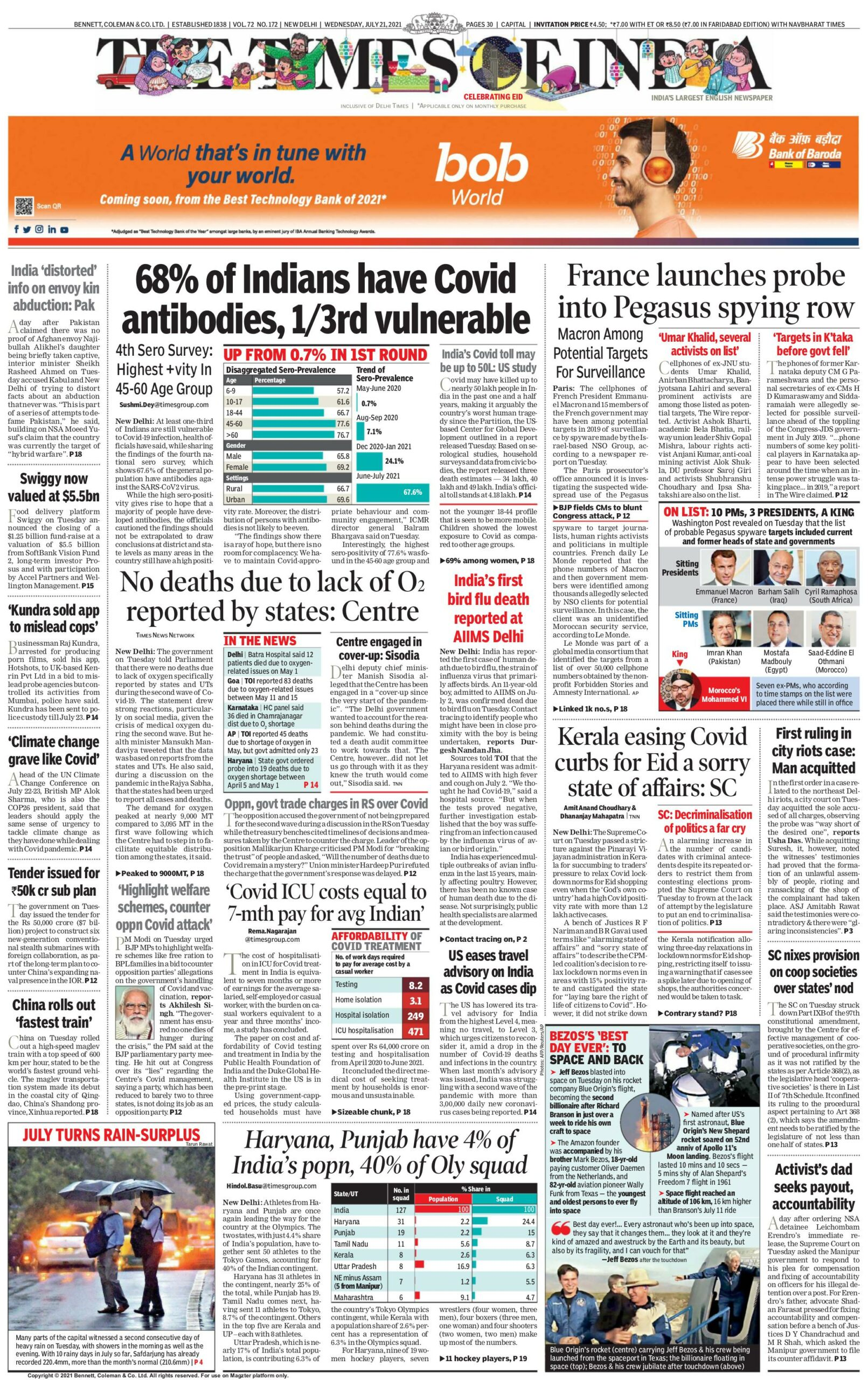Times of India 21st July 2021