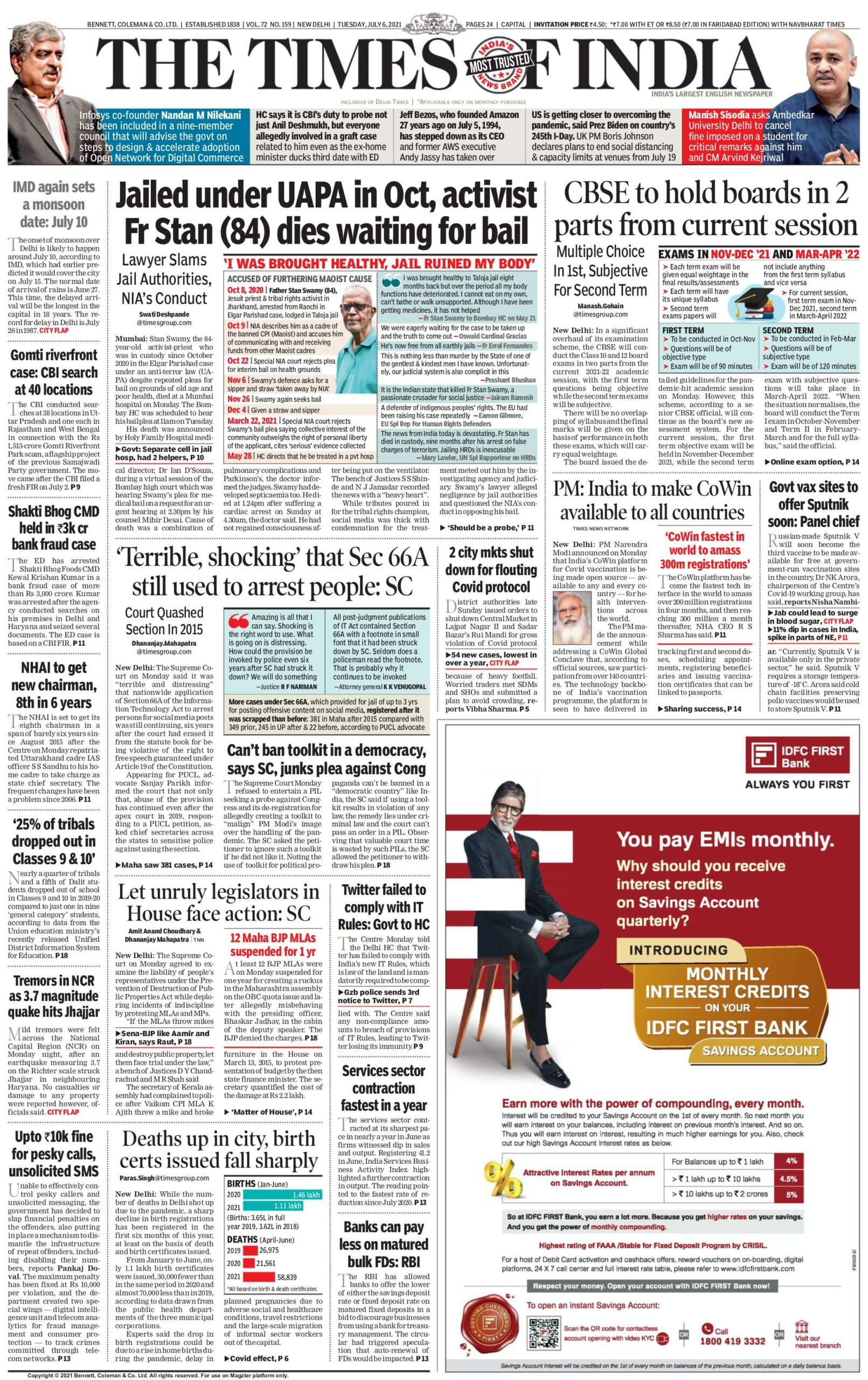 Times of India 6th July 2021
