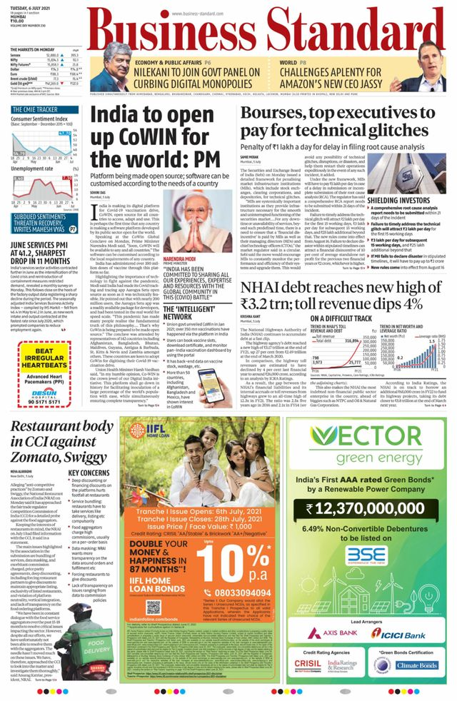 business standard 6th July 2021